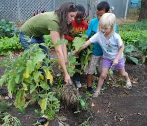 Kristi and students helping out at Growing Lots